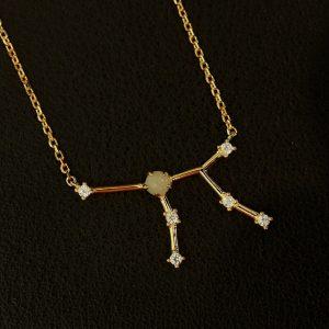 Amazonit Silberanhänger Jungfrau vergoldet