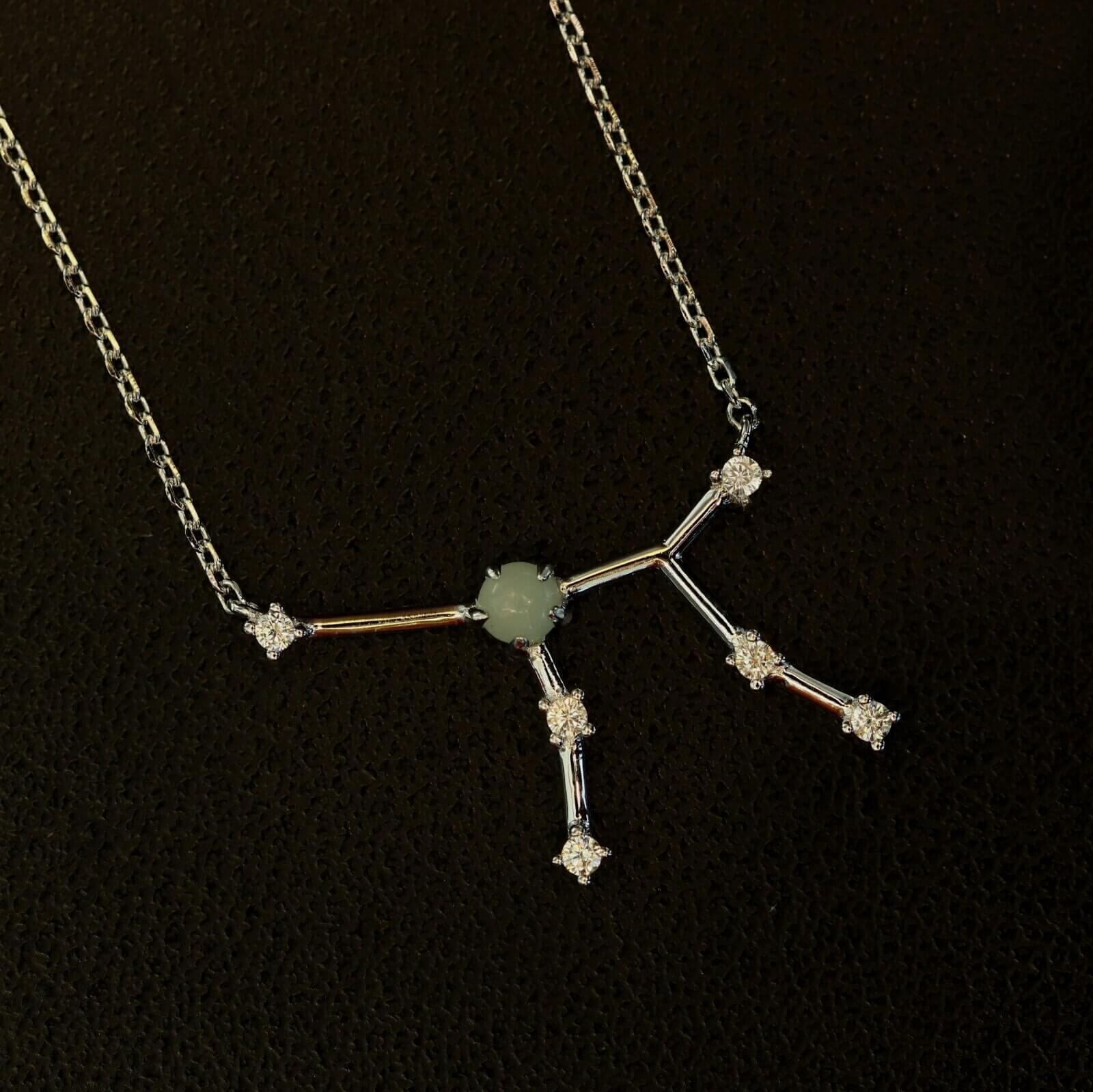 Silberanhänger Sternbild Jungfrau mit einem Amazonit und Zirkonen