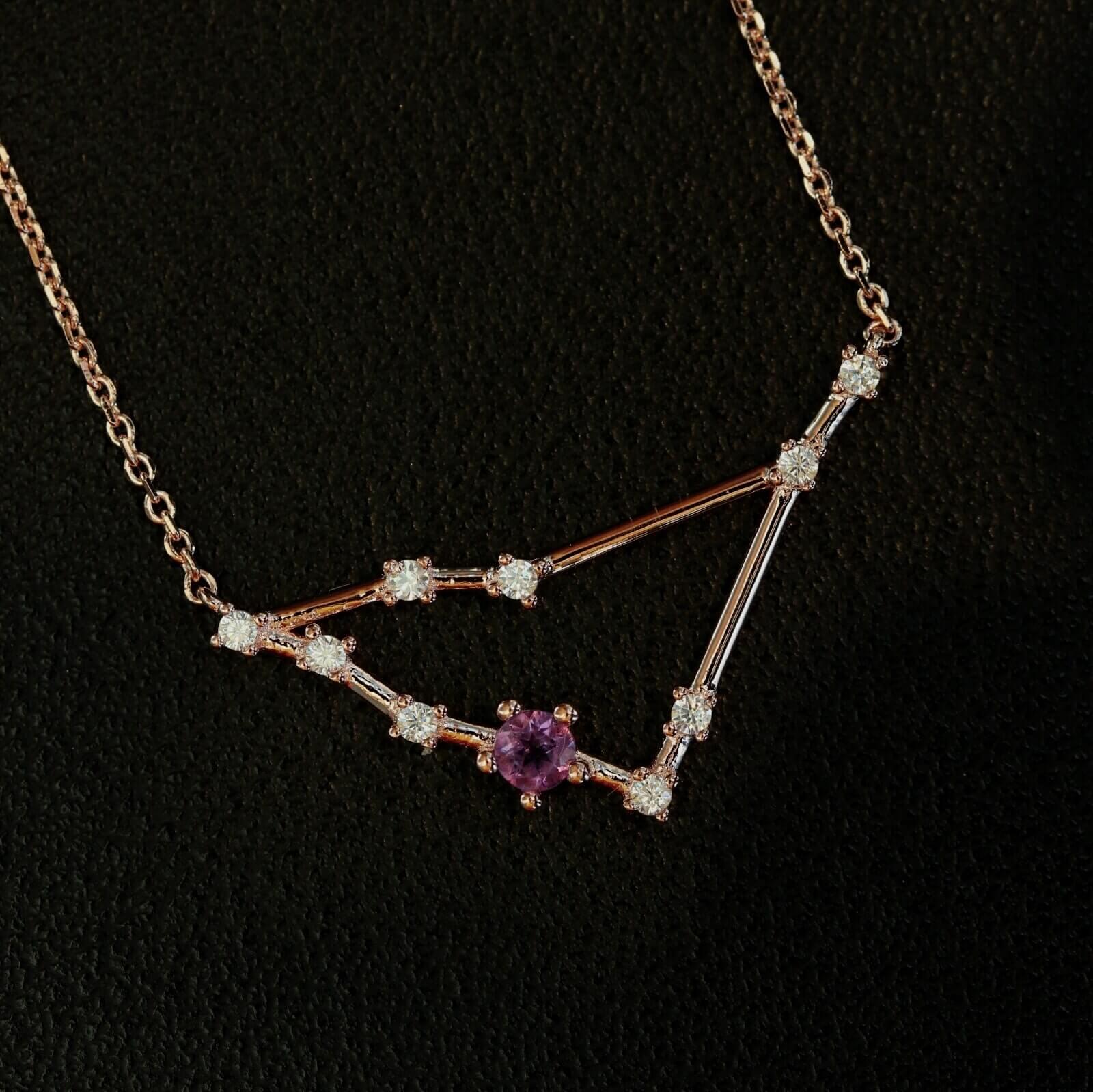 Silberanhänger Sternbild Steinbock mit einem Amazonit und Zirkonen