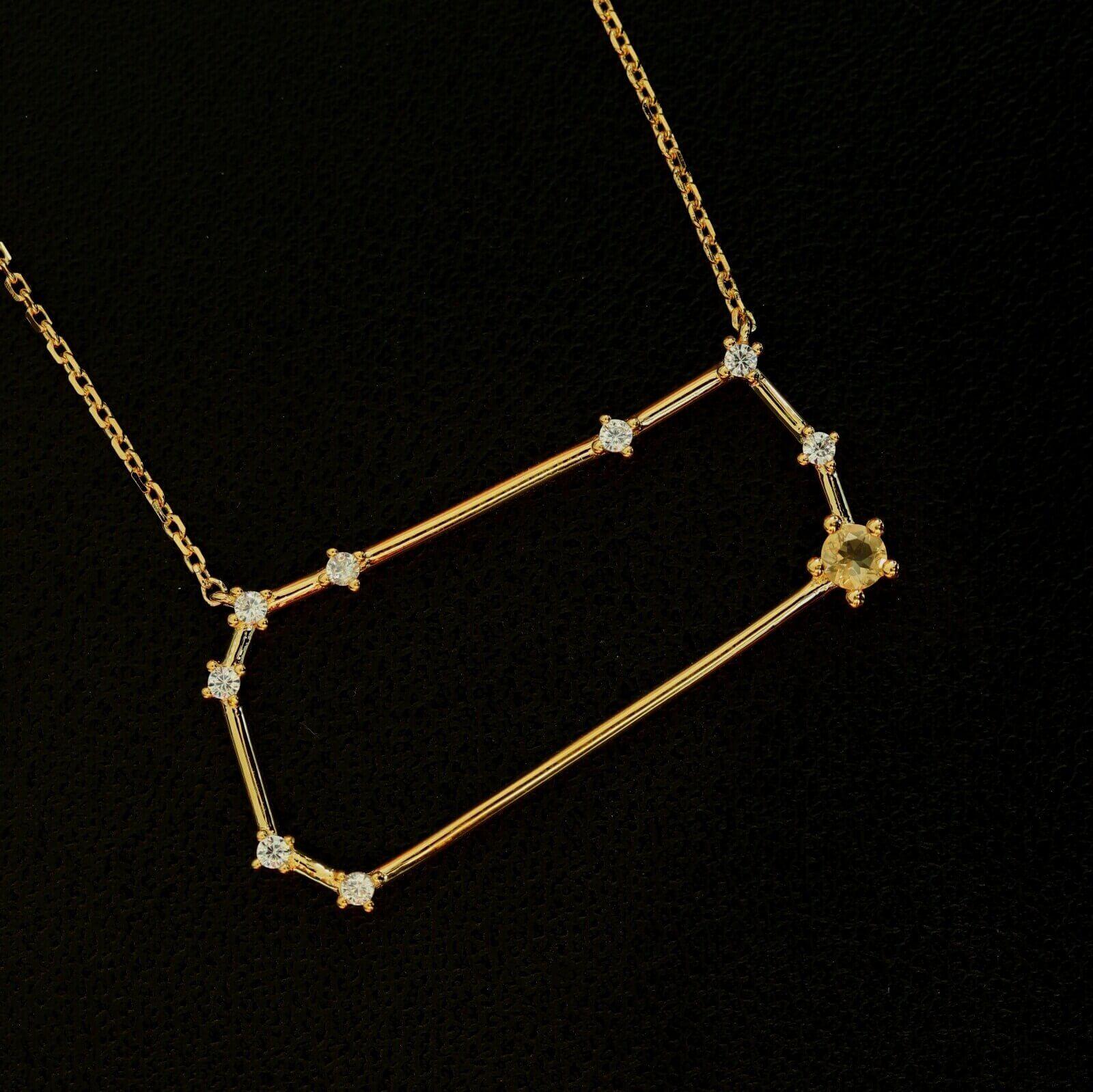 Sternbild Zwilling Silberanhänger vergoldet mit Citrin und Zirkon.